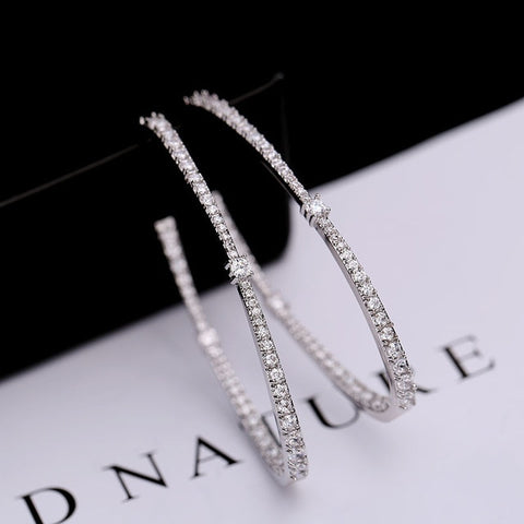 Simple Hoop Earrings With AAA CZ