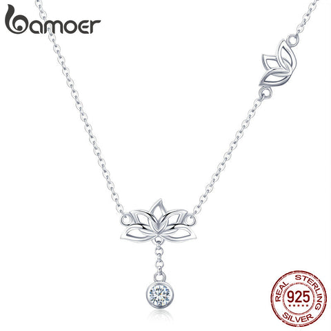 BAMOER Lotus Flower Pendant Necklaces