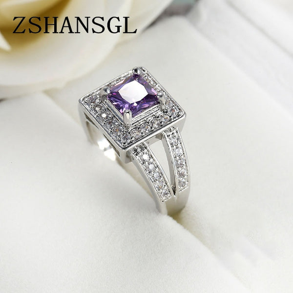 925 Sterling Sliver paved Purple CZ Princess  Ring
