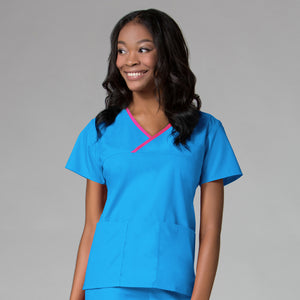 Malibu Blue/Hot Pink Trim - Maevn Core Mock Wrap Top