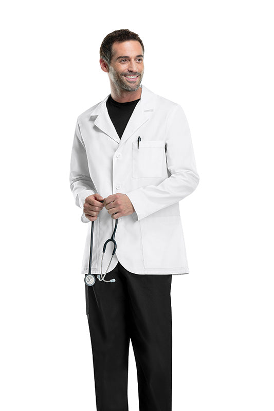 "White - Cherokee Lab Coats Certainty 31"" Men's Antimicrobial Consultation Lab Coat"