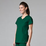 Hunter Green - Maevn Red Panda Curved Mock Wrap Top