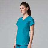Teal - Maevn Red Panda Curved Mock Wrap Top