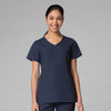 True Navy - Maevn Red Panda Curved Mock Wrap Top