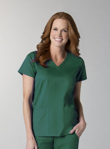 Hunter Green - Maevn EON Back Mesh Panel Shaped V-Neck Top