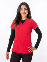 Red - Green Town Zinnia V-Neck Stretch Top