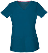Caribbean Blue - HeartSoul Break On Through Pitter-Pat Shaped V-Neck Top