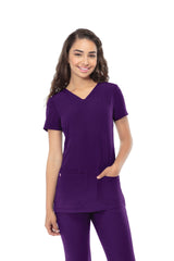 Eggplant - HeartSoul Break On Through Pitter-Pat Shaped V-Neck Top