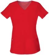 Red - HeartSoul Break On Through Pitter-Pat Shaped V-Neck Top