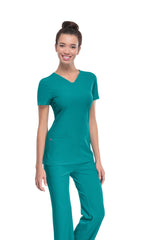 Teal Blue - HeartSoul Break On Through Pitter-Pat Shaped V-Neck Top