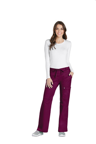 Wine - Cherokee Luxe Low Rise Drawstring Cargo Pant