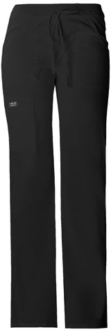 Black - Cherokee Workwear Core Stretch Low Rise Drawstring Cargo Pant