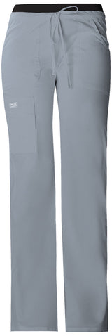 Grey - Cherokee Workwear Core Stretch Low Rise Drawstring Cargo Pant