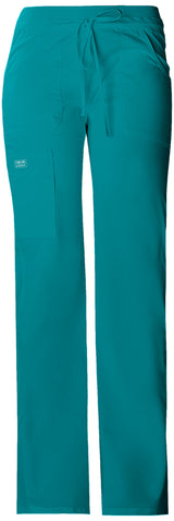 Teal Blue - Cherokee Workwear Core Stretch Low Rise Drawstring Cargo Pant