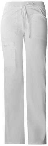 White - Cherokee Workwear Core Stretch Low Rise Drawstring Cargo Pant