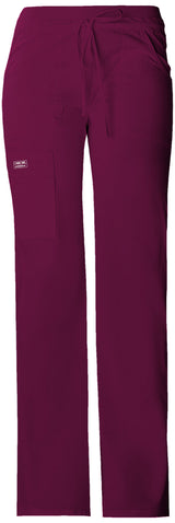 Wine - Cherokee Workwear Core Stretch Low Rise Drawstring Cargo Pant