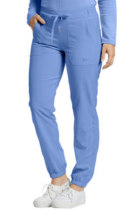 Ceil Blue - White Cross Fit Jogger Pant