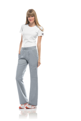 Grey - Cherokee Workwear Core Stretch Mid Rise Pull On Cargo Pant