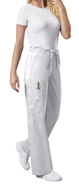 White - Cherokee Workwear Core Stretch Unisex Drawstring Cargo Pant