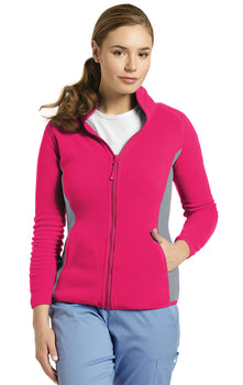 Fuchsia - White Cross Fleece Jacket