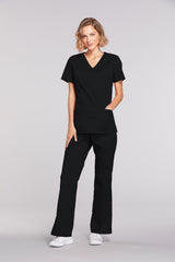 Black - Cherokee Workwear Core Stretch Mock Wrap Top