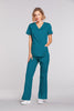 Caribbean Blue - Cherokee Workwear Core Stretch Mock Wrap Top