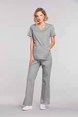 Grey - Cherokee Workwear Core Stretch Mock Wrap Top