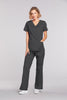 Pewter - Cherokee Workwear Core Stretch Mock Wrap Top
