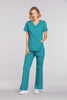 Teal Blue - Cherokee Workwear Core Stretch Mock Wrap Top