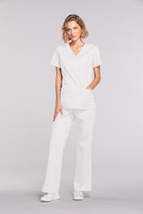 White - Cherokee Workwear Core Stretch Mock Wrap Top