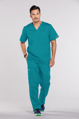 Teal Blue - Cherokee Workwear Core Stretch Men's V-Neck Top
