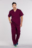 Wine - Cherokee Workwear Core Stretch Men's V-Neck Top