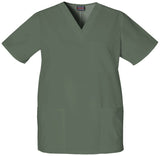 Olive - Cherokee Workwear Originals Unisex V-Neck Top