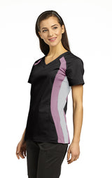 Black with Pink Cocktail & Grey - White Cross Allure Double Contrast Sport Top