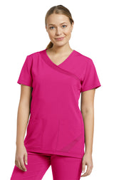 Fuchsia - White Cross Fit Mock Wrap Top