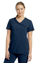 Navy - White Cross Fit Mock Wrap Top