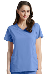 Ceil Blue - White Cross Fit V-Neck Top