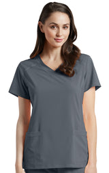 Pewter - White Cross Fit V-Neck Top
