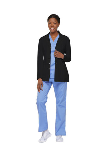 "Black - Dickies Xtreme Stretch 28"" Women's Snap Front Lab Coat"