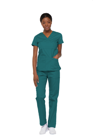 Teal Blue - Dickies EDS Signature Mock Wrap Top