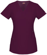 Wine - Dickies Xtreme Stretch Mock Wrap Top
