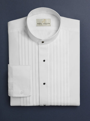 Neil Allyn Men's Banded Collar Tuxedo Shirt