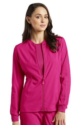 Fuchsia - White Cross Fit Front Zipper Jacket