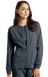 Pewter - White Cross Fit Front Zipper Jacket