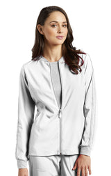 White - White Cross Fit Front Zipper Jacket