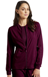 Wine - White Cross Fit Front Zipper Jacket