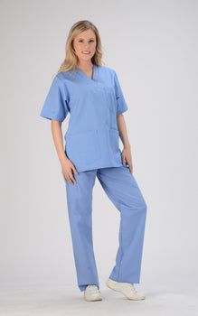 Ciel Blue - Avida Core Unisex V-Neck Top (3 Pockets)