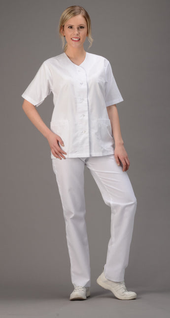 White - Avida Button Front Top