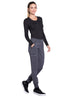 Pewter - Cherokee Infinity Mid Rise Tapered Leg Jogger Pant
