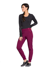 Wine - Cherokee Infinity Mid Rise Tapered Leg Jogger Pant